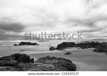 Black and white take of a rocky Pacific shore in Costa Rica - stock photo