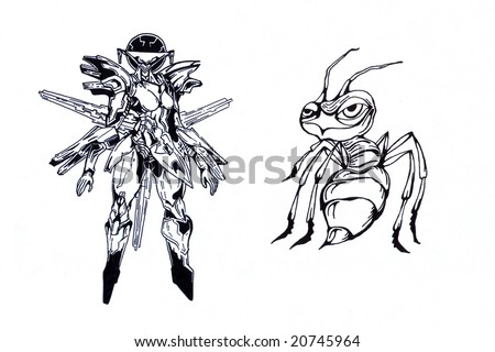 stock photo : Black and white tattoo of hornet and angel