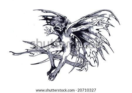 stock photo : Black and white tattoo pattern of prehistoric dragon