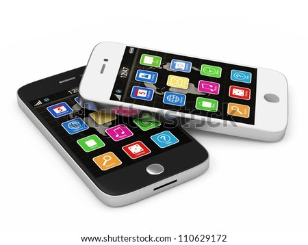 Black and White Touchscreen Smart Phones isolated on white background