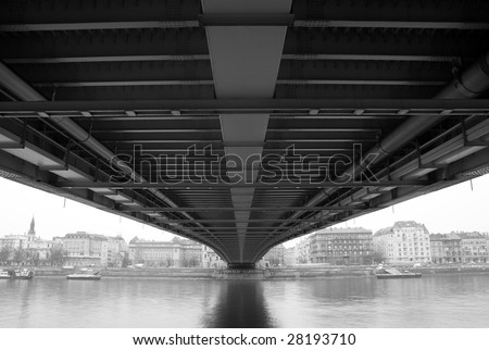 Black and white townscape from under the bridge