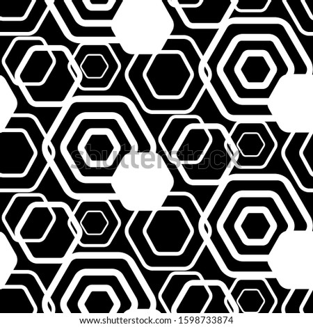 Black and white trellis. Geometric hexagonal seamless pattern. Simple monochrome graphic design. Repeating modern stylish texture. Endless background. Repeated polygons. Fashion grid. textile prints