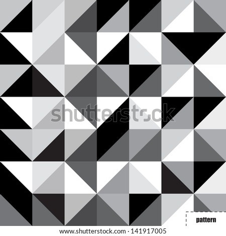 Black and white triangle pattern, background, texture - stock photo