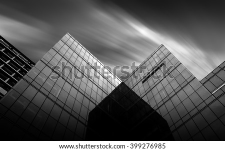 Black and white urban geometry  glass building  #399276985