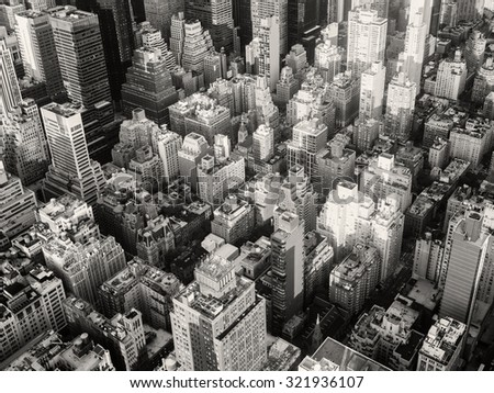 Black and white urban landscape of New York City
