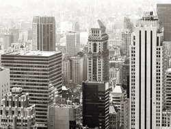 Black and white urban scene with modern and vintage skyscrapers in New York City
