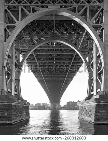 Black and White View from below the Williamsburg Bridge in New York City on a hazy day #260012603