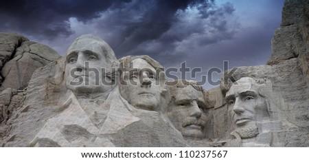 Black and White view of Mount Rushmore and Sky, U.S.A.
