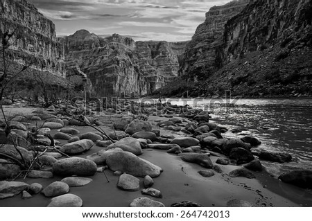 Black and white view of the Grand Canyon from the Colorado River. #264742013