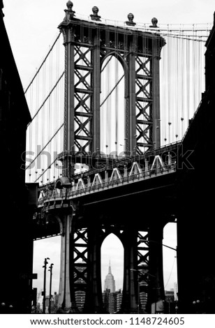 Black and white view of the Manhattan Bridge from DUMBO Brooklyn