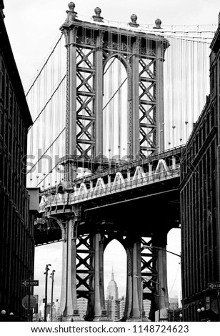 Black and white view of the Manhattan Bridge from DUMBO Brooklyn #1148724623