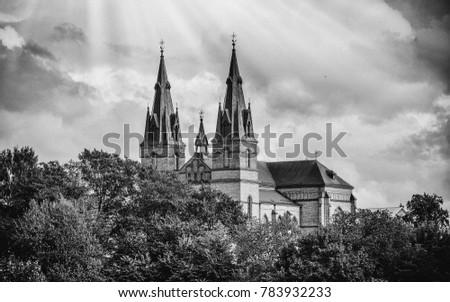 Black and white vintage photography of the Catholic Church at Latvia.