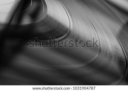 Black and white Vinyl Record with Grooves
