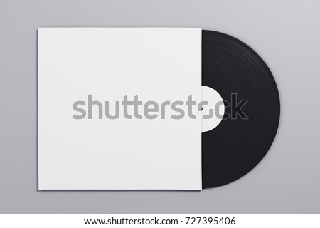 Black and white vinyl sleeve on gray background. Retro concept. Mock up, 3D Rendering