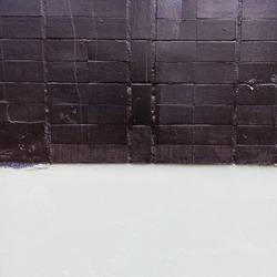 Black and white wal. Black brick wall. Brickwork texture. Decorative wall decoration. Horizontal wallpaper. Stone background.