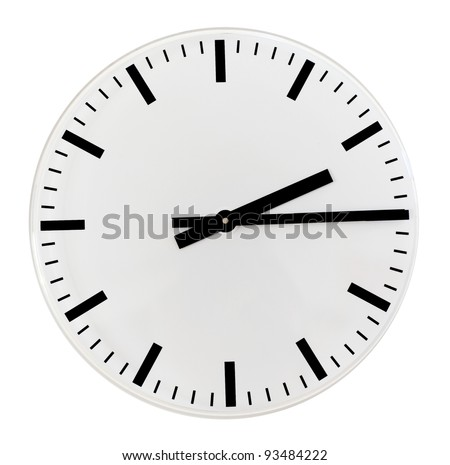 Black and white wall clock, quarter past two in the afternoon
