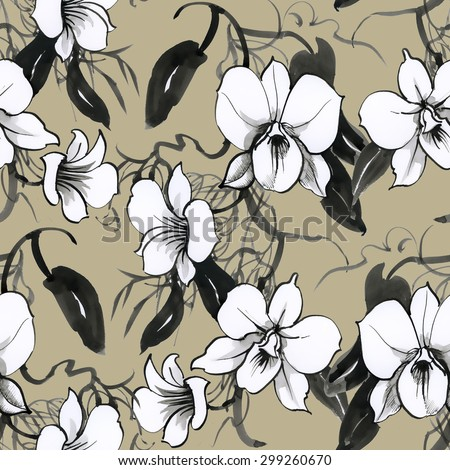Black and white watercolor floral seamless orchids pattern on beige background