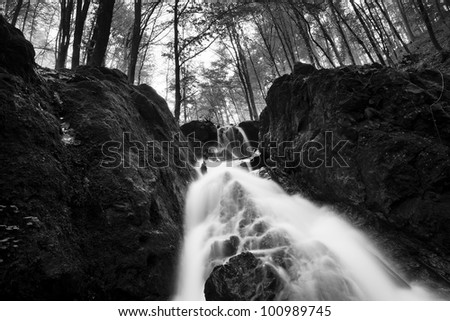 black and white waterfall
