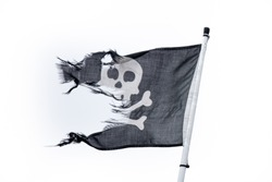 Black and white waving frayed pirate flag with a white background