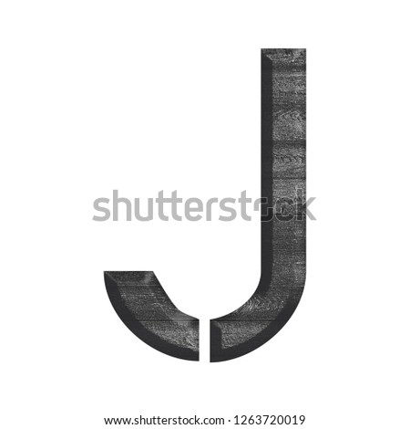 Black and white wooden textured letter J in a 3D illustration with a dark wood grain slats texture and stencil style font on a white background with clipping path Stock fotó ©