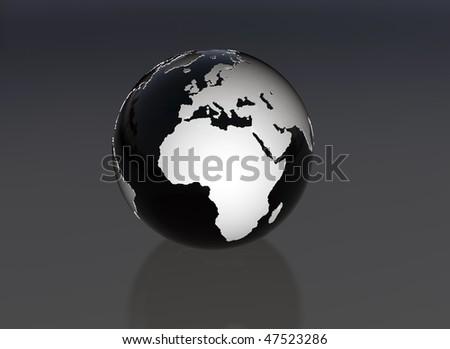 Black and white world globe Oil