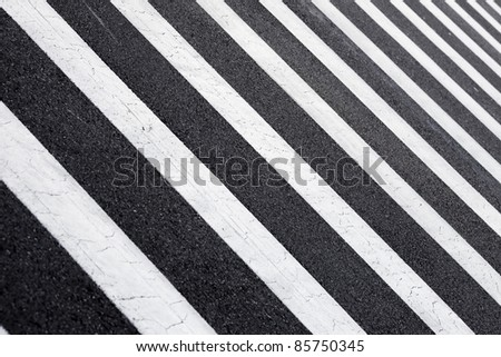 black  and white zebra crossing - stock photo