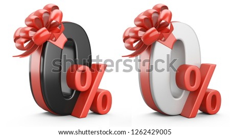 Black and white zero percent with red ribbon and bow. Discount free. Discount free.  Discount free. 3d illustration.
