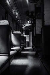black and wthite train compartment  lonley compartment