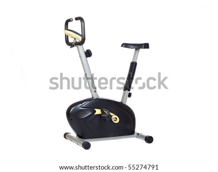 Black and yellow bike isolated on white background