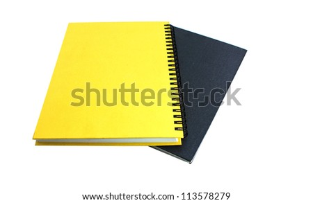 Black and yellow books on white isolated background