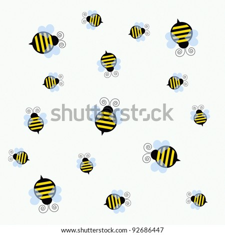 black and yellow bumble bees on white illustration