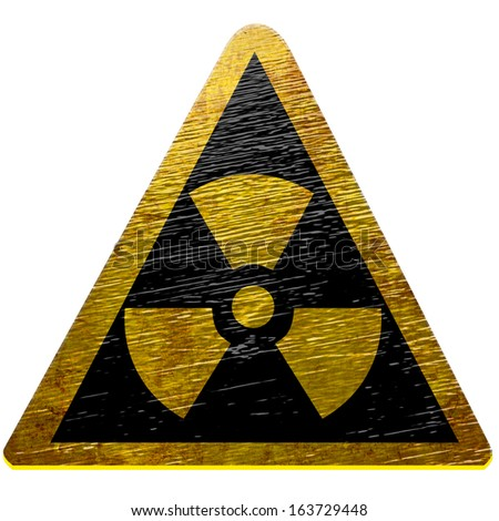 black and yellow nuclear sign isolated on a white background