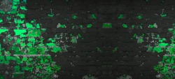 Black anthracite grey neon green damaged aged old weathered rustic brick wall brickwork stonework masonry texture background banner