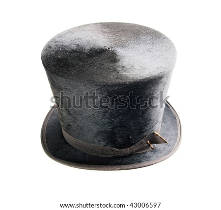 black antique felt top hat isolated on white
