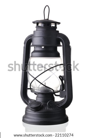 black antique style latern isolated on white