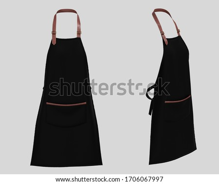 Black apron with the leather strap, apron mockup isolated on white background. Barista cafe coffee uniform. 3d rendering