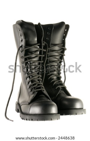 black army shoes isolated on white