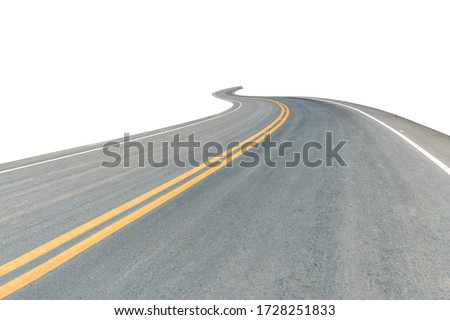 Black asphalt curved road isolated on white background. This has clipping path. Photo stock ©