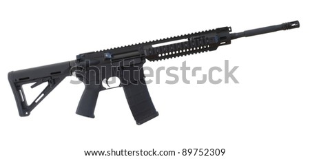 Black assault rifle with an adjustable stock isolated on white