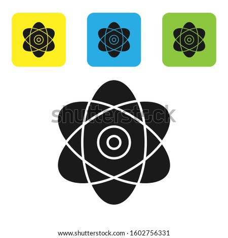 Black Atom icon isolated on white background. Symbol of science, education, nuclear physics, scientific research. Electrons and protons sign. Set icons colorful square buttons.