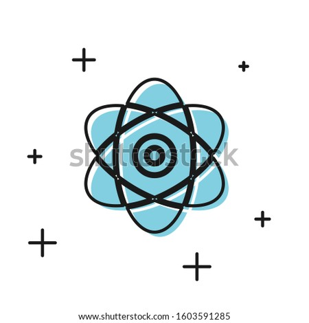 Black Atom icon isolated on white background. Symbol of science, education, nuclear physics, scientific research. Electrons and protons sign.