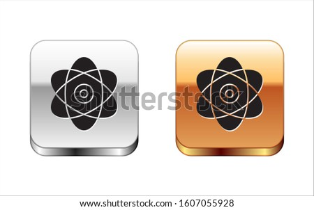 Black Atom icon isolated on white background. Symbol of science, education, nuclear physics, scientific research. Electrons and protons sign. Silver-gold square button.