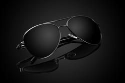Black Aviator Sunglasses on Black Background