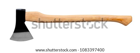 black ax with wooden handle isolated on white background