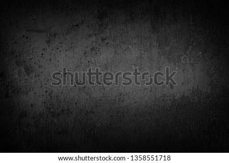 Black background  dark slate stone texture vignette. Concrete surface. #1358551718