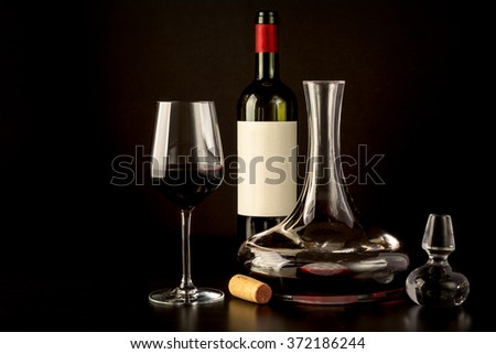 black background red wine glass ...