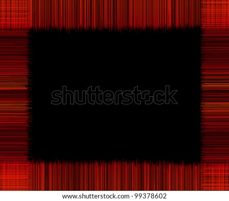 black background texture with red fringes frame