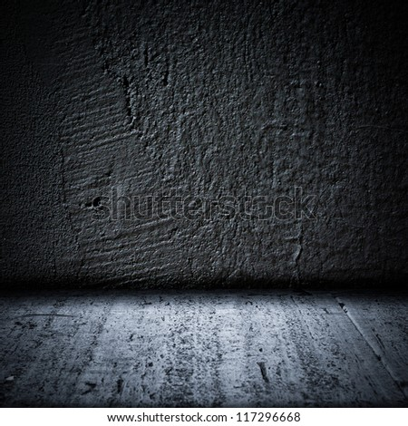 Black background wall and floor texture. Square format