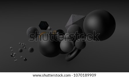 Black background with balls. 3d illustration, 3d rendering. #1070189909