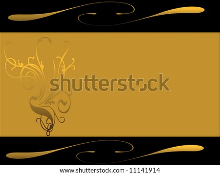 Black background with golden bar and swirls
